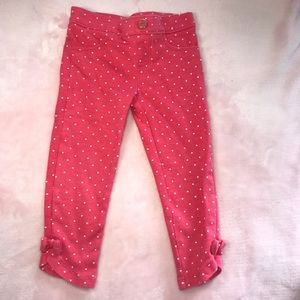 3T Gymboree Pull On Girls Coral Polka Dots Pants